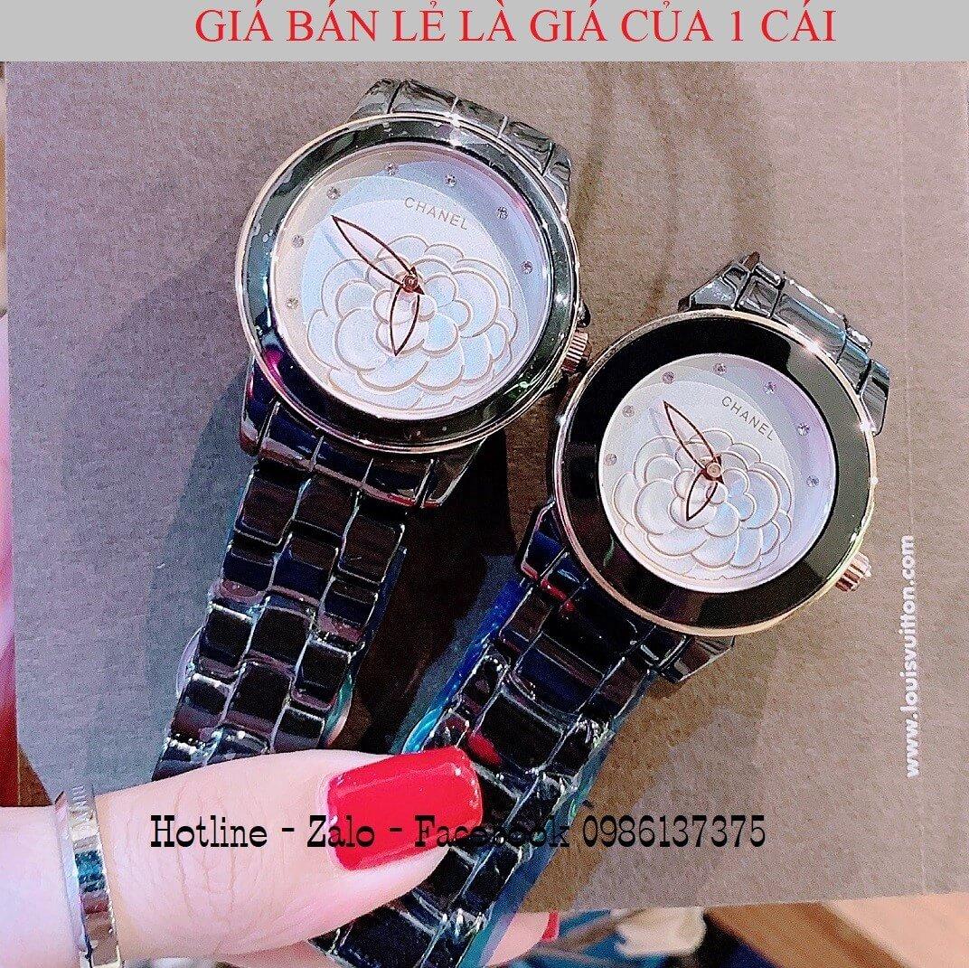 Đồng Hồ Nữ Chanel Đá Ceramic Đen 33mm - 38mm Mặt Hoa 3D