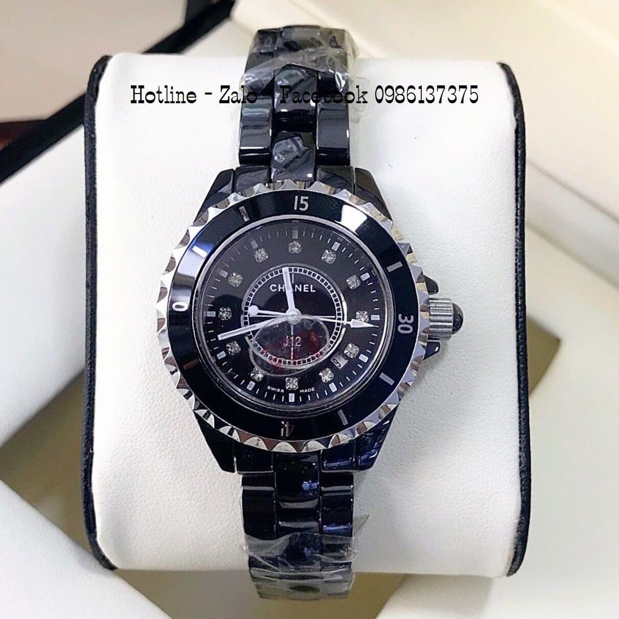 Đồng Hồ Nữ Chanel Đá Ceramic Đen 34mm - 39mm Silver