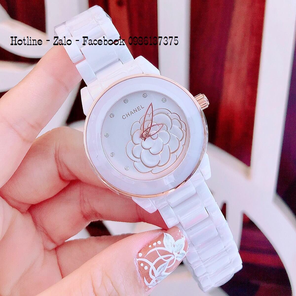 Đồng Hồ Nữ Chanel Đá Ceramic Trắng 33mm Mặt Hoa 3D