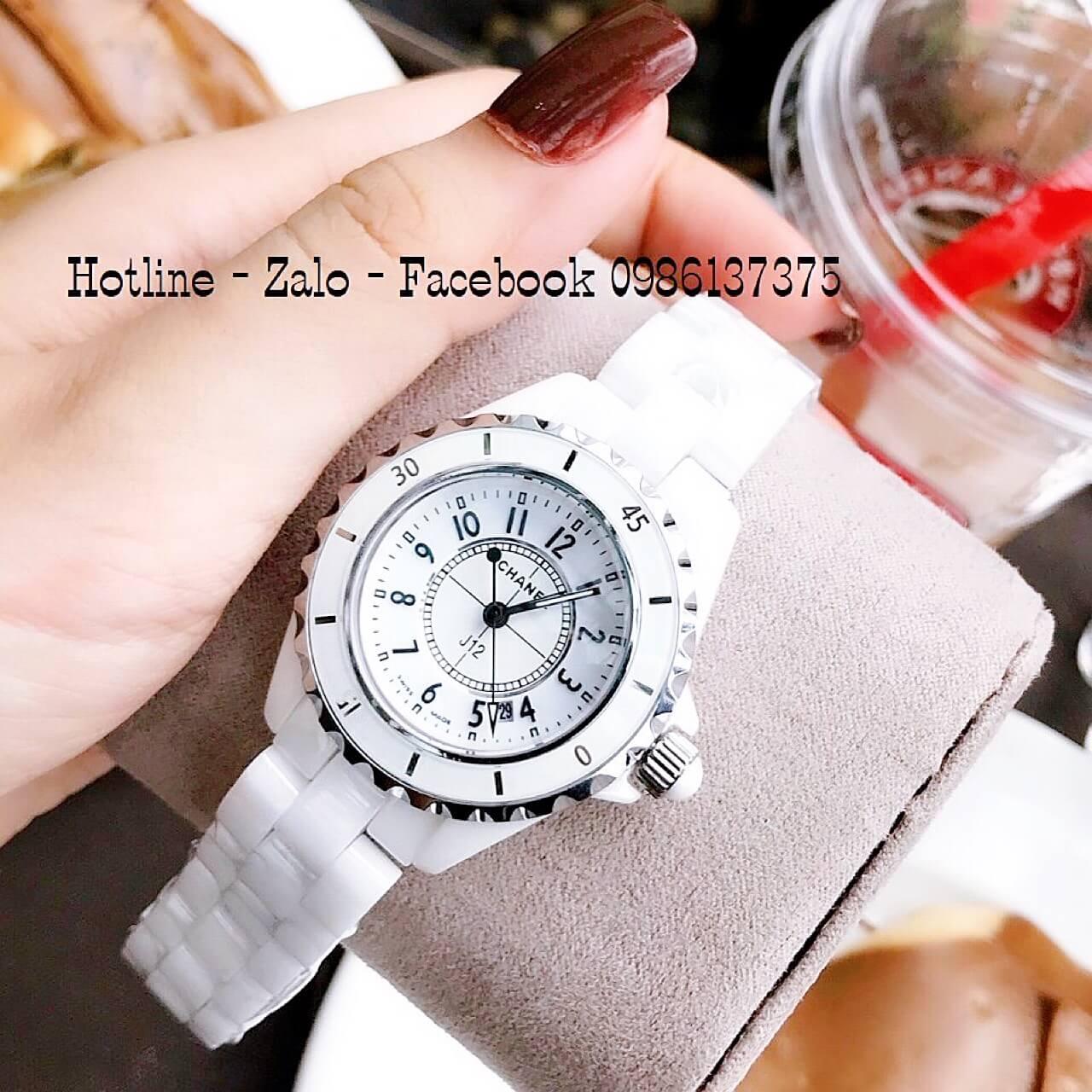 Đồng Hồ Nữ Chanel Đá Ceramic Trắng 34mm Siêu Cấp