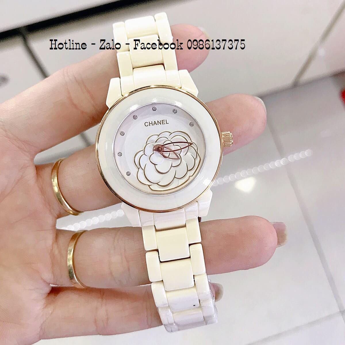 Đồng Hồ Nữ Chanel Đá Ceramic Kem 33mm Mặt Hoa 3D