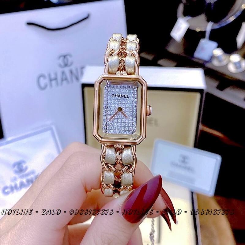 Đồng Hồ Nữ Chanel Première Diamond Dây Xích Vàng Hồng Mặt Trắng 20x28mm