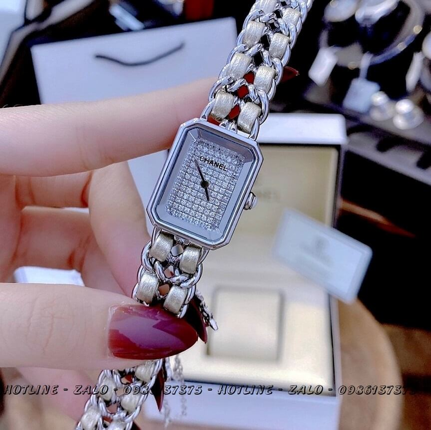 Đồng Hồ Nữ Chanel Première Diamond Dây Xích Bạc Mặt Trắng 20x28mm