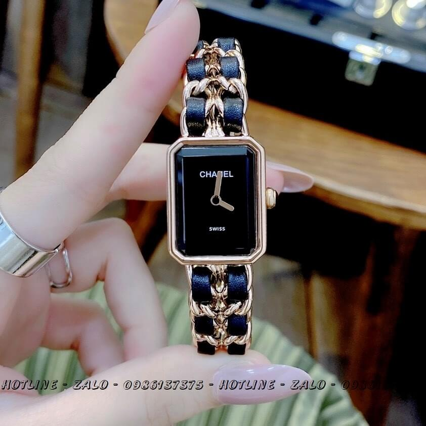 Đồng Hồ Nữ Chanel Première Dây Xích Rose Gold Đen 20x28mm