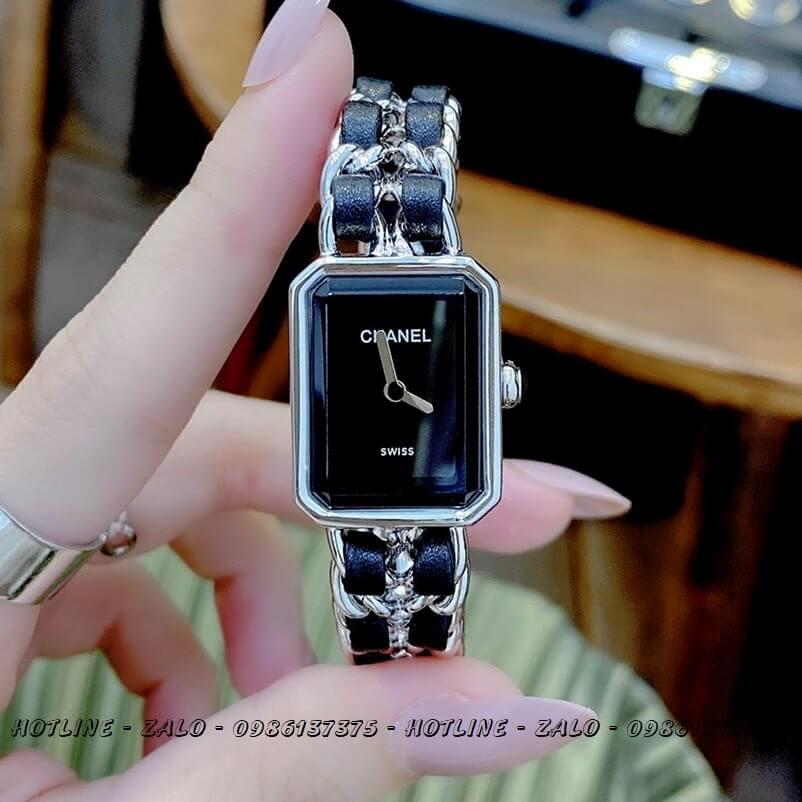 Đồng Hồ Nữ Chanel Première Dây Xích Silver Đen 20x28mm