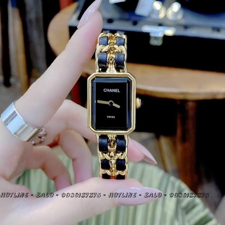 Đồng Hồ Nữ Chanel Première Dây Xích Gold Đen 20x28mm
