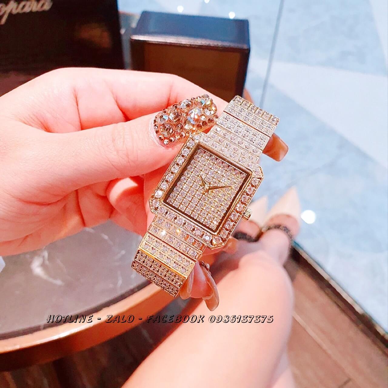 Đồng Hồ Piaget Nữ Vuông Đính Xoàn Gold 26mm