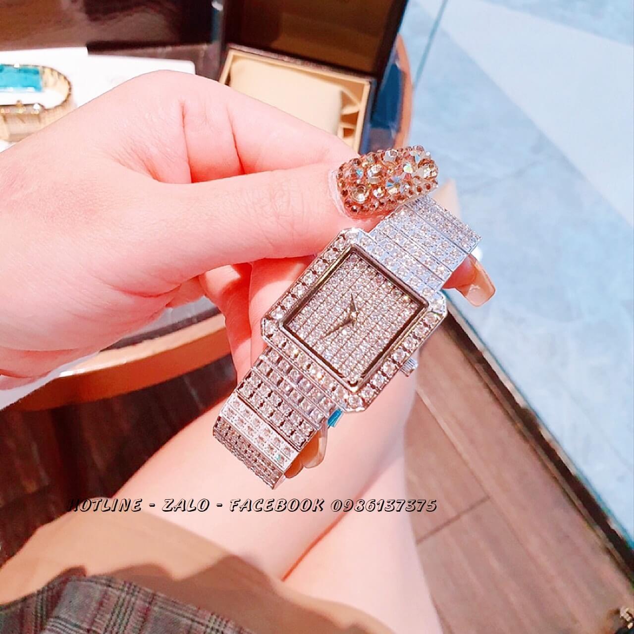 Đồng Hồ Piaget Nữ Vuông Đính Xoàn Silver 26mm