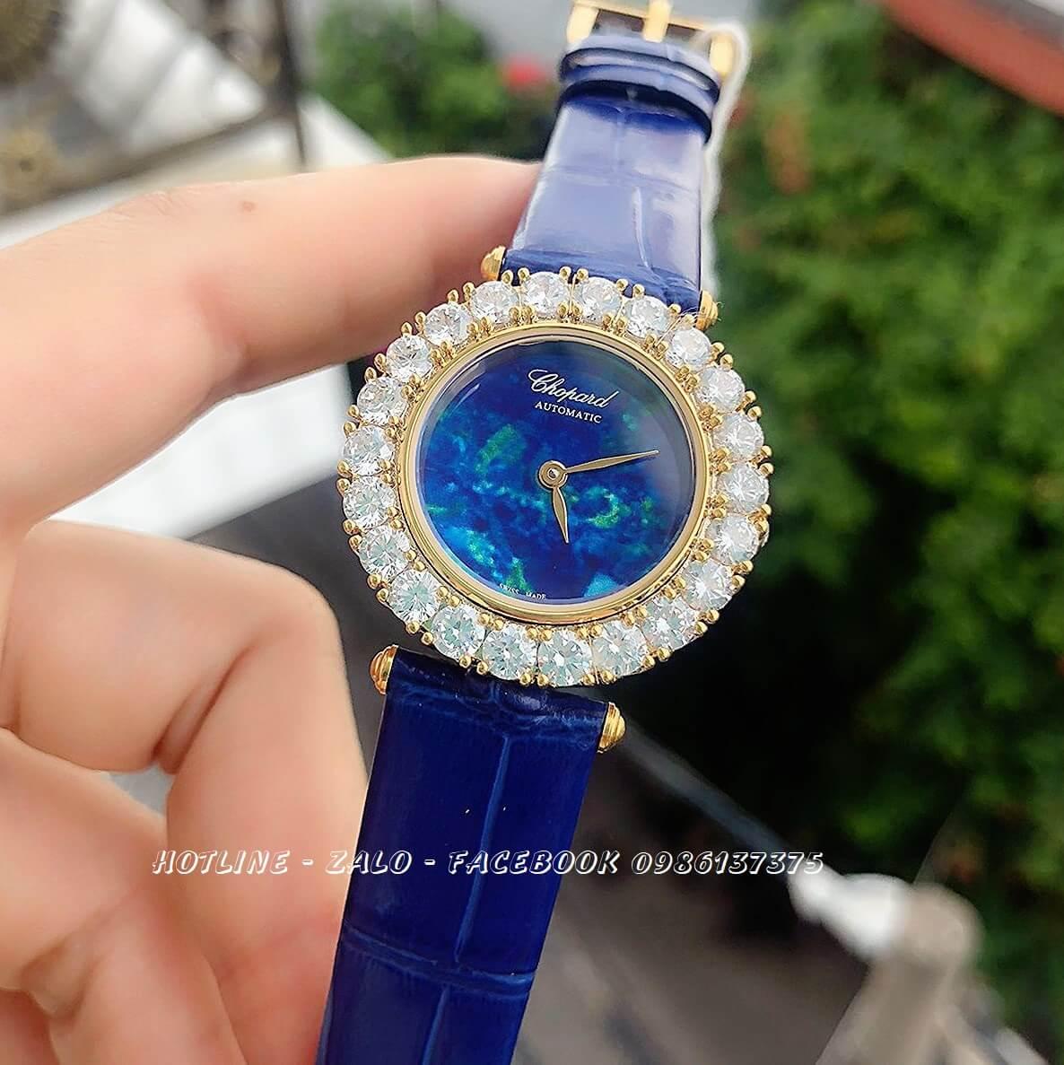 Đồng Hồ Chopard Nữ Dây Da Xanh Mặt Đá Xanh Gold 30mm