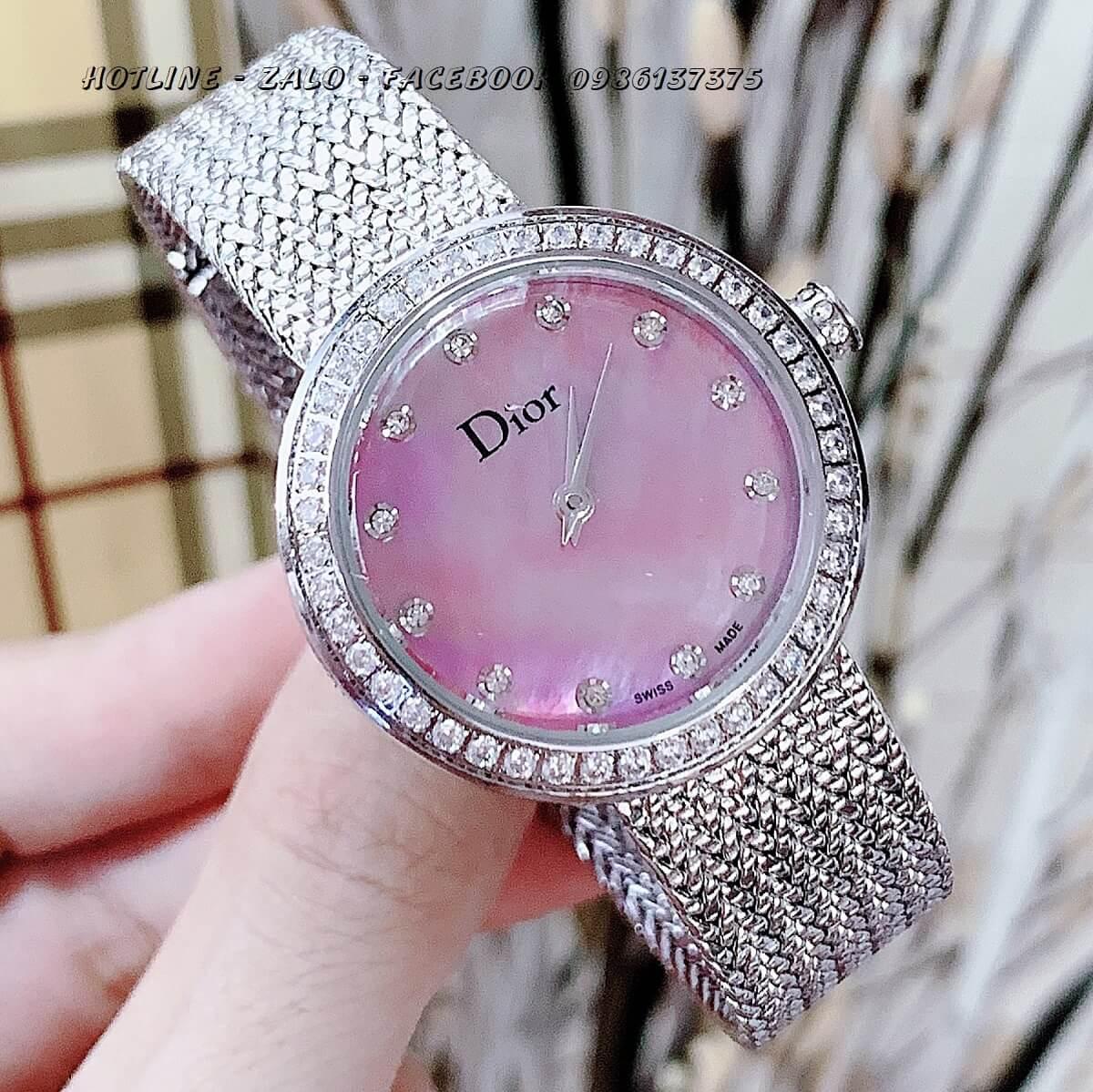 Đồng Hồ Dior Nữ Dây Mesh Bạc Mặt Hồng 31mm