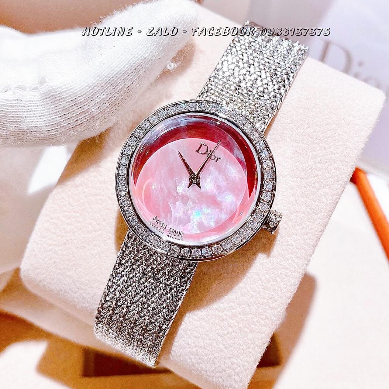 Đồng Hồ Dior Nữ Dây Bạc Mặt Hồng 31mm