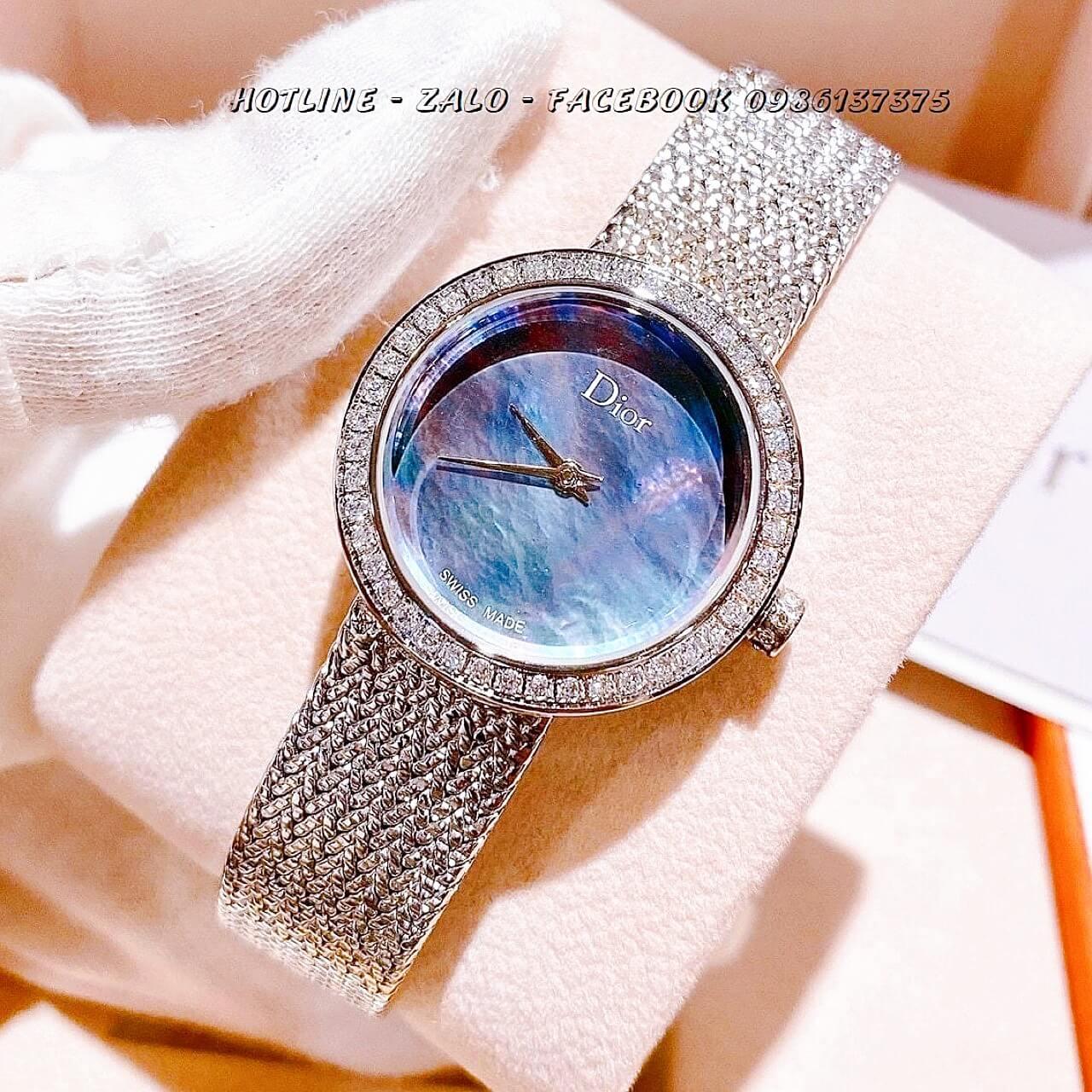 Đồng Hồ Dior Nữ Dây Bạc Mặt Xanh Xà Cừ 31mm