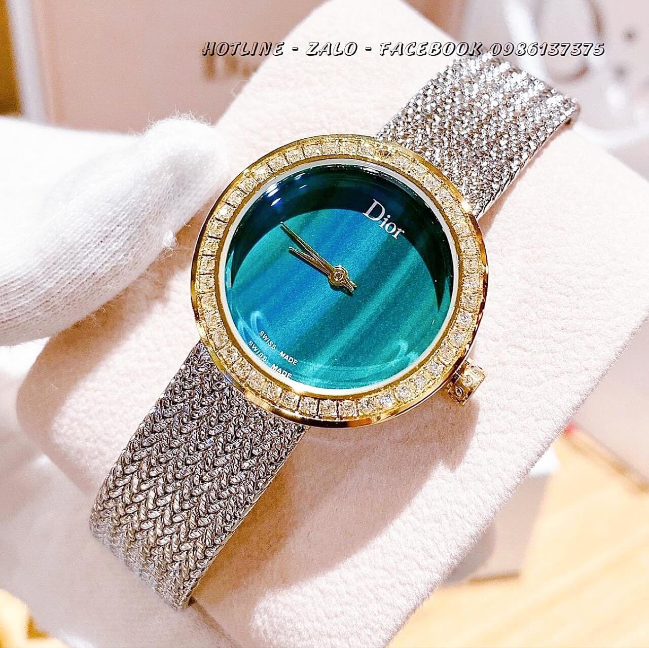 Đồng Hồ Dior Nữ Demi Bạc Mặt Xanh Ngọc 31mm