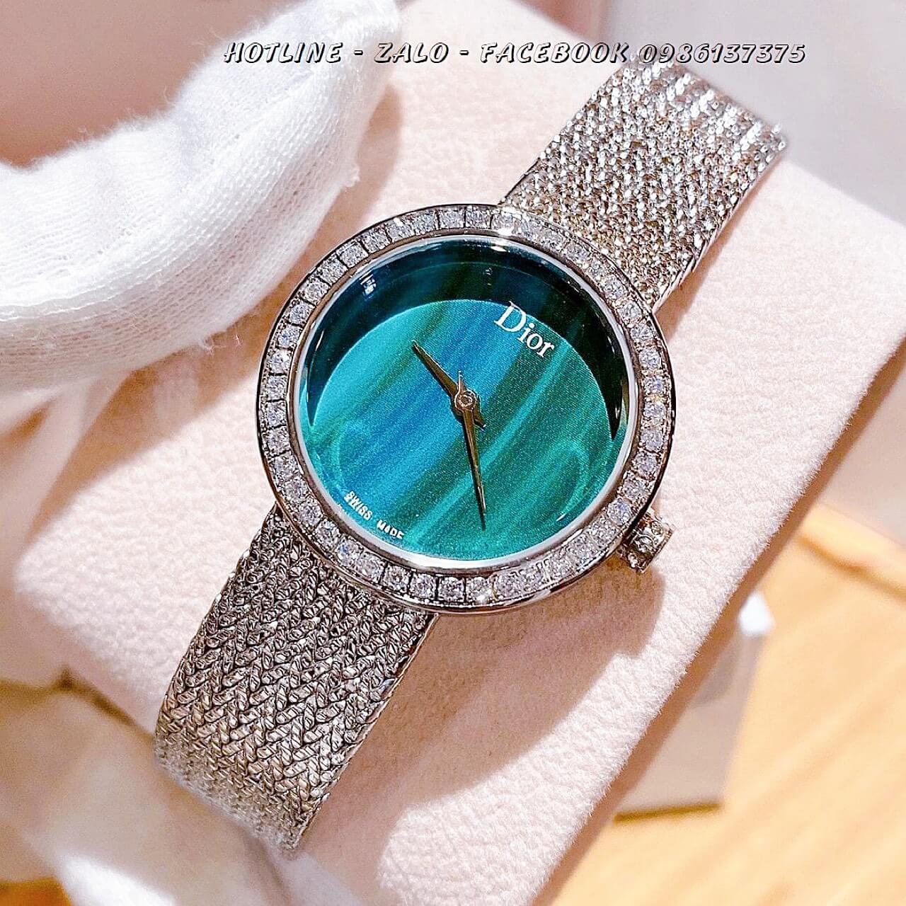 Đồng Hồ Dior Nữ Dây Bạc Mặt Xanh Ngọc 31mm