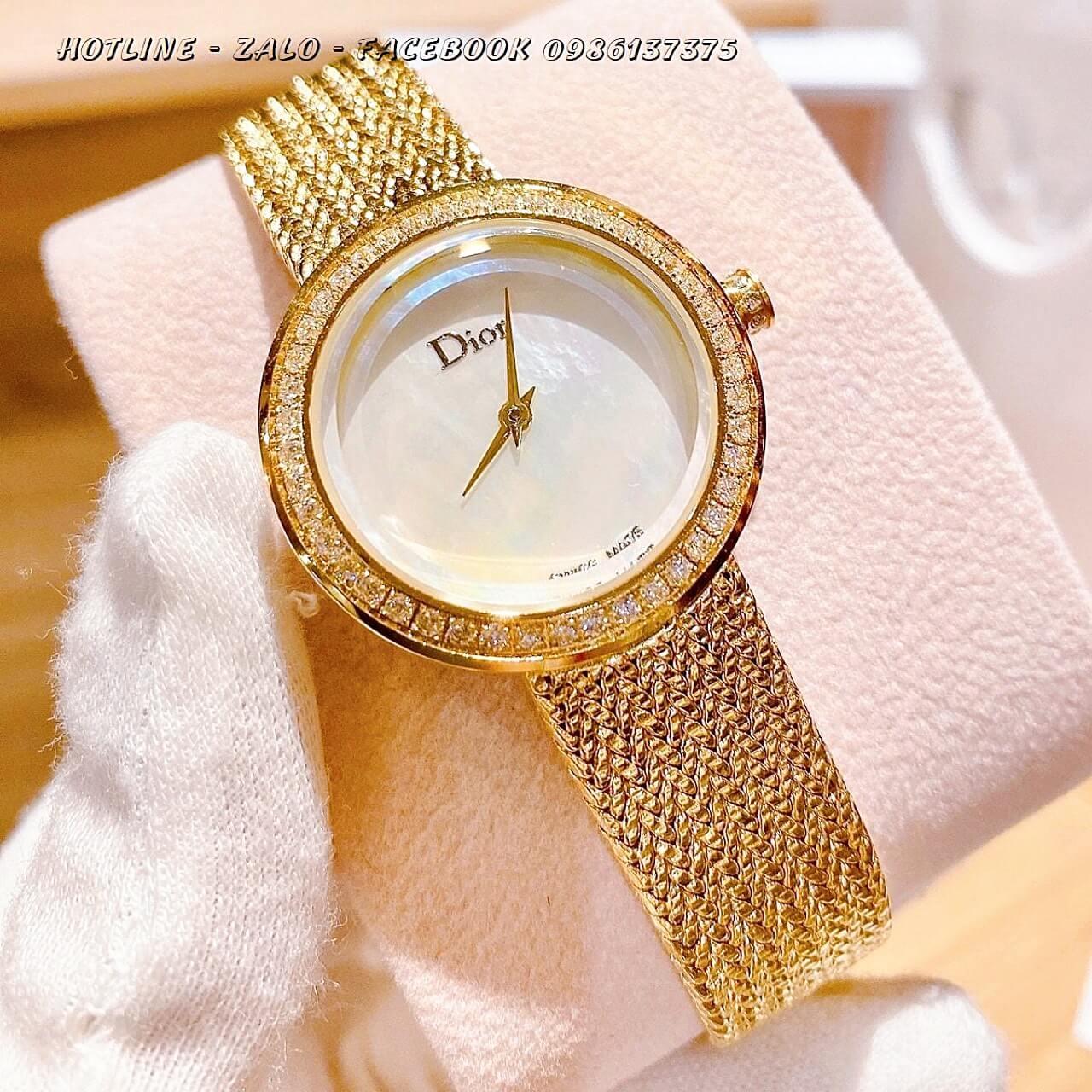 Đồng Hồ Dior Nữ Dây Vàng Mặt Trắng 31mm