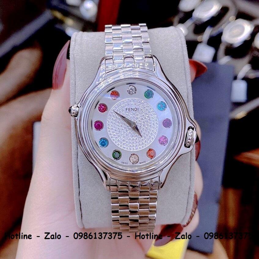 Đồng Hồ Nữ Fendi Crazy Carats Diamond Mặt Đá Xoay 35mm