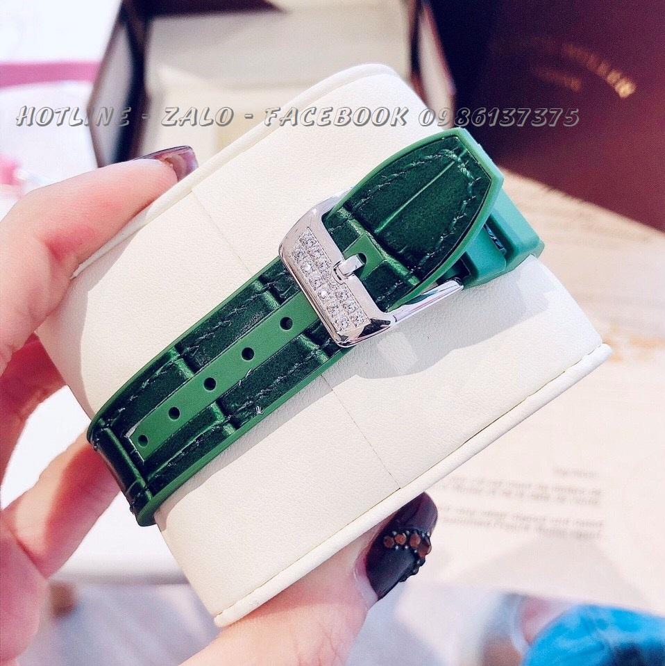 Đồng Hồ Franck Muller Nữ Dây Da Silicon Xanh Lá Mặt Full Đá