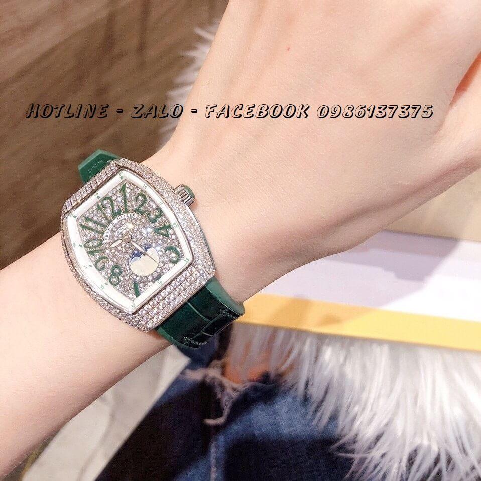 Đồng Hồ Franck Muller Nữ Dây Da Silicon Xanh Mặt Full Đá