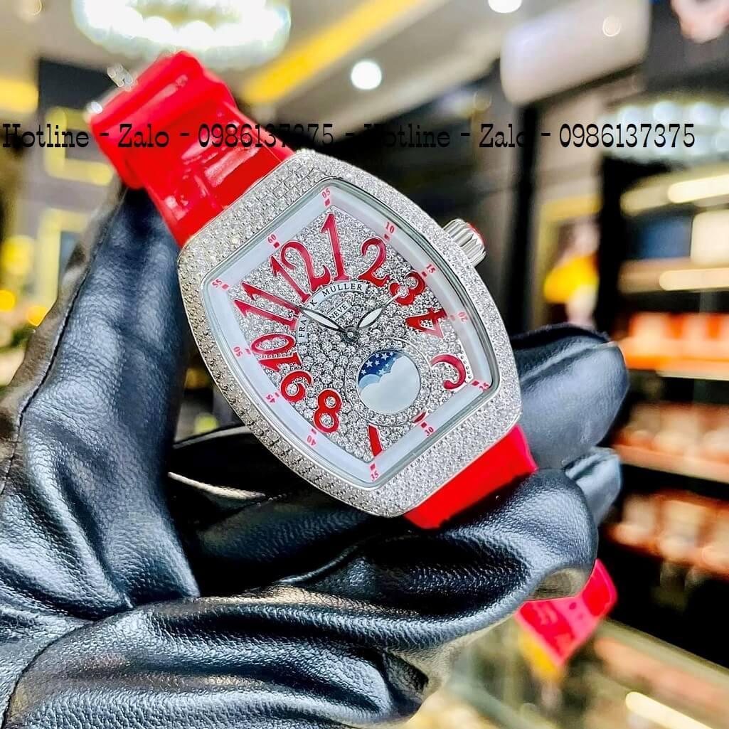 Đồng Hồ Nữ Franck Muller Silicon Đỏ Đính Đá Silver 34mm