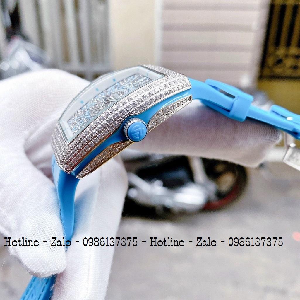 Đồng Hồ Nữ Franck Muller Silicon Xanh Đính Đá Silver 34mm
