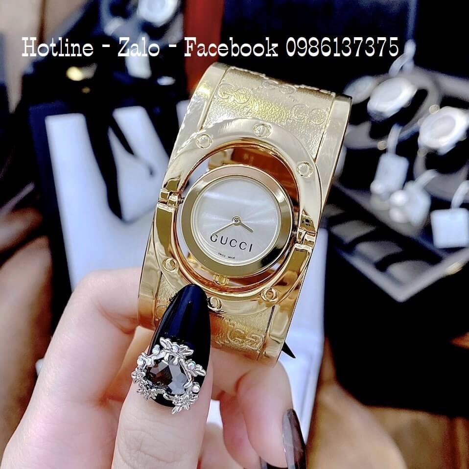 Đồng Hồ Nữ Gucci Lắc Tay Bảng To Vàng 36mm