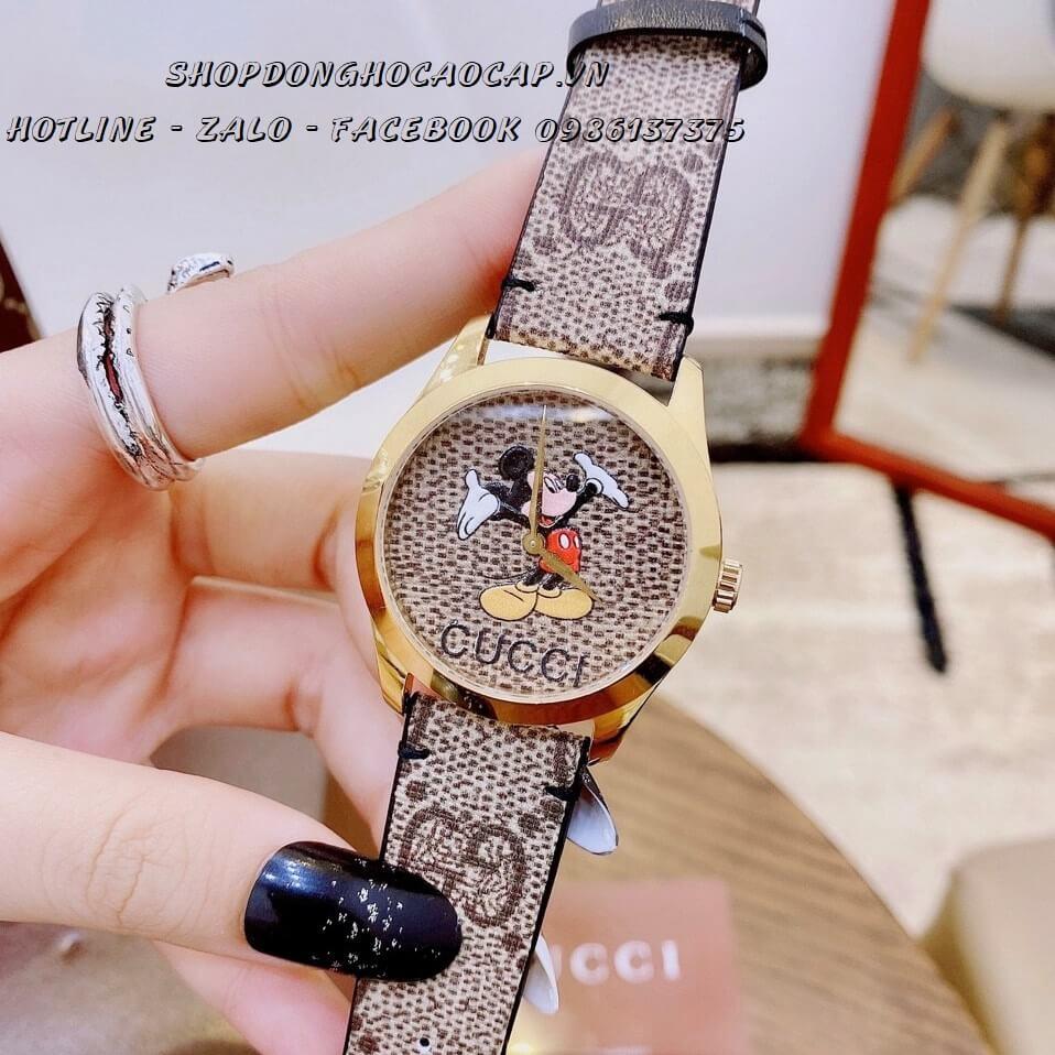 Đồng Hồ Gucci Disney Nữ Dây Da Xám Gold 37mm