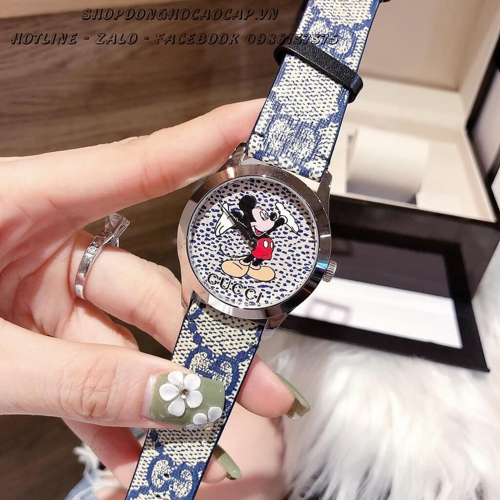Đồng Hồ Gucci DisneyNữ Dây Da Xanh Silver 37mm
