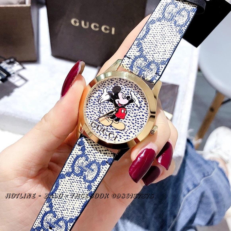 Đồng Hồ Gucci Disney Nữ Dây Da Xanh Gold 37mm