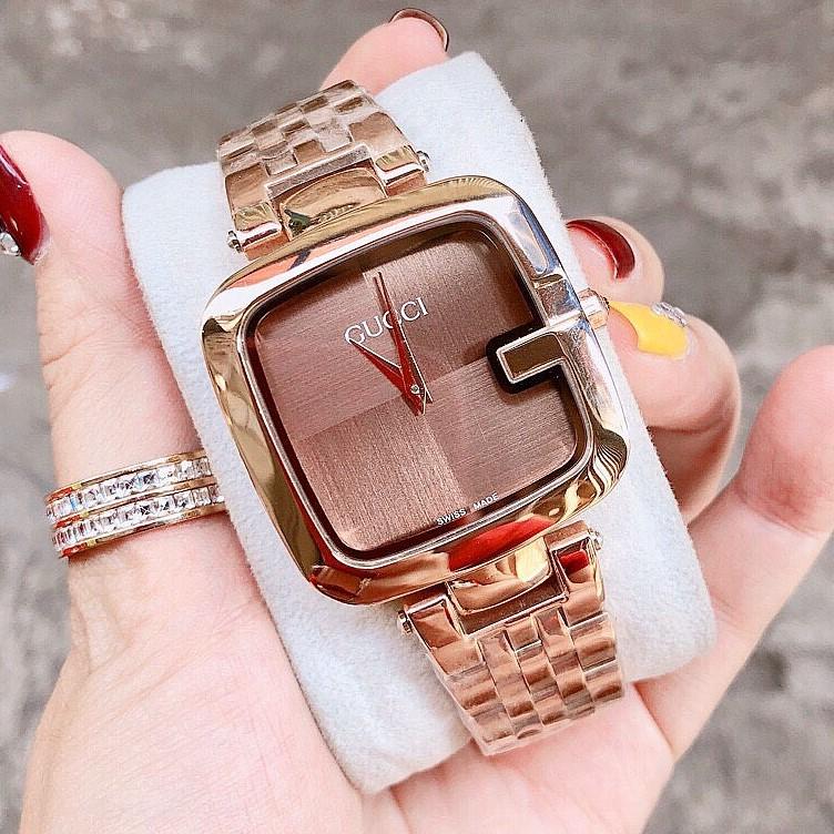 Đồng Hồ Gucci Nữ Mặt Vuông Dây Thép Nâu 36mm