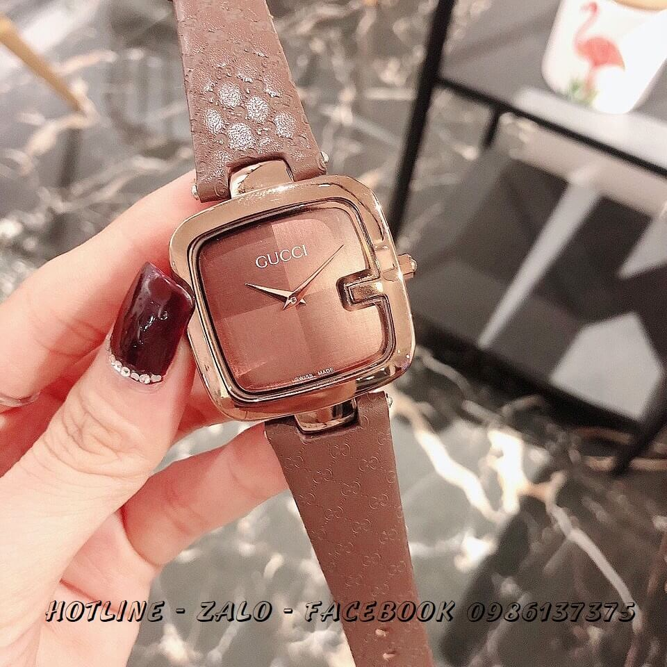 Đồng Hồ Gucci Nữ Mặt Vuông Dây Da Nâu 36mm