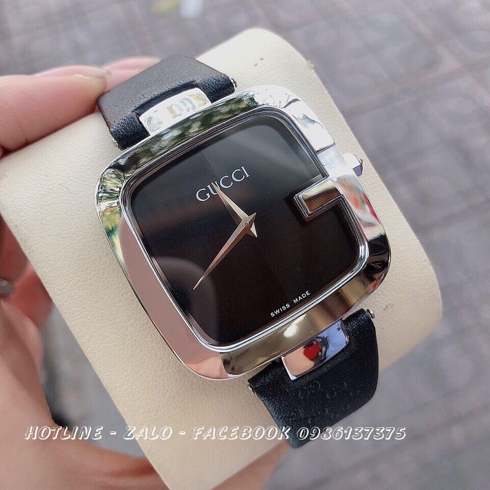 Đồng Hồ Gucci Nữ Mặt Vuông Dây Da Đen Mặt Đen 36mm