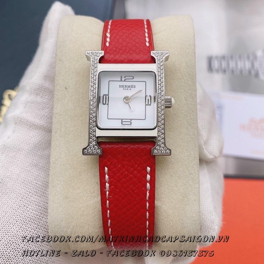 Đồng Hồ Hermes Nữ Dây Da Đỏ Mặt Đính Đá Silver 20x30mm