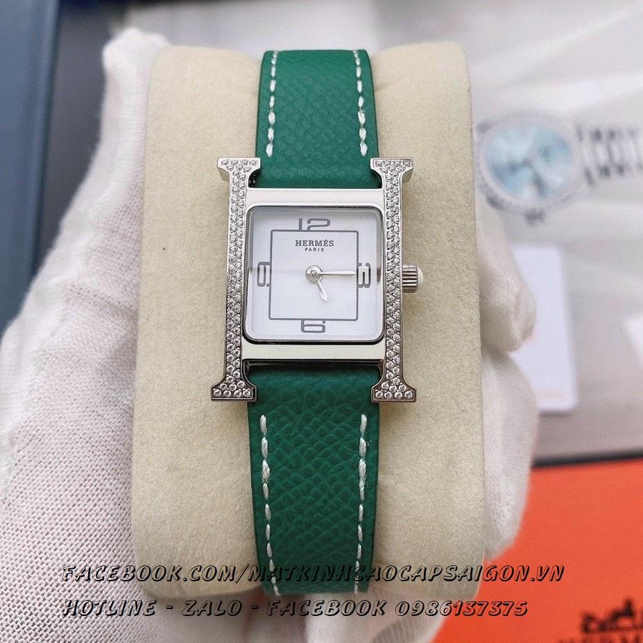 Đồng Hồ Hermes Nữ Dây Da Green Mặt Đính Đá Silver 20x30mm