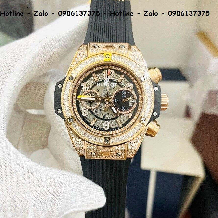 Đồng Hồ Hublot Big Bang Jewellery Automatic Siêu Cấp Nam Silicon Đen Vỏ Gold 44mm