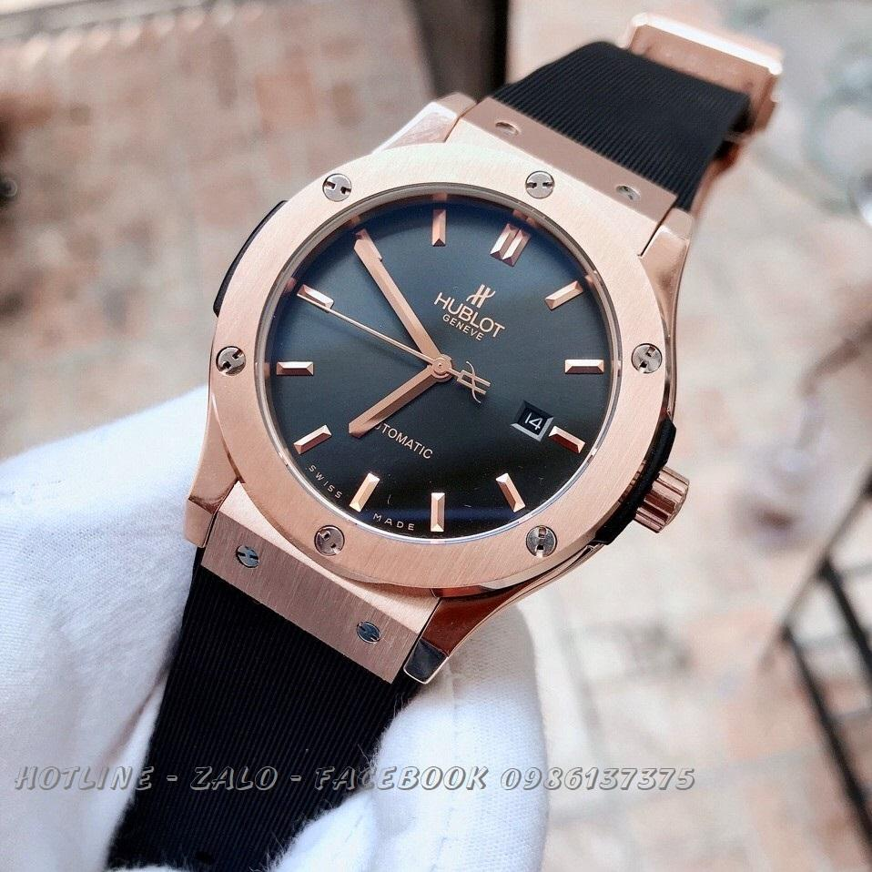 Đồng Hồ Hublot Nam Automatic Dây Silicon Đen Rose Gold 42mm