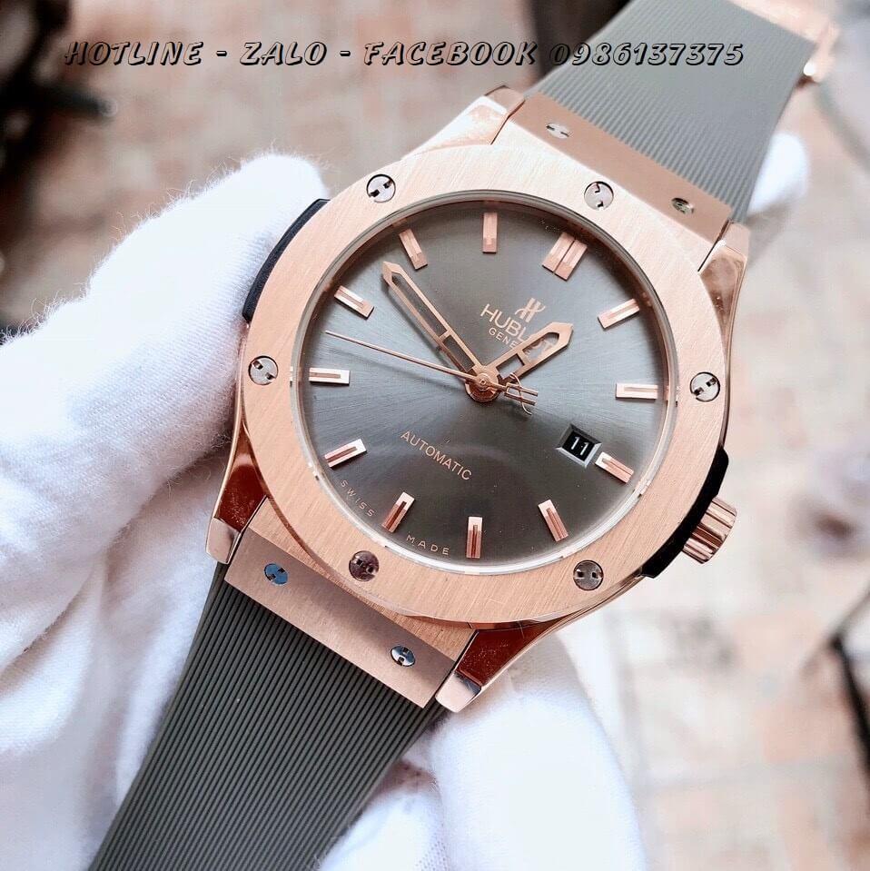 Đồng Hồ Hublot Nam Automatic Dây Silicon Xám Rose Gold 42mm