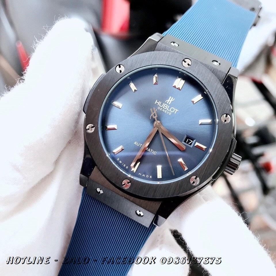Đồng Hồ Hublot Nam Automatic Dây Silicon Xanh Black 42mm