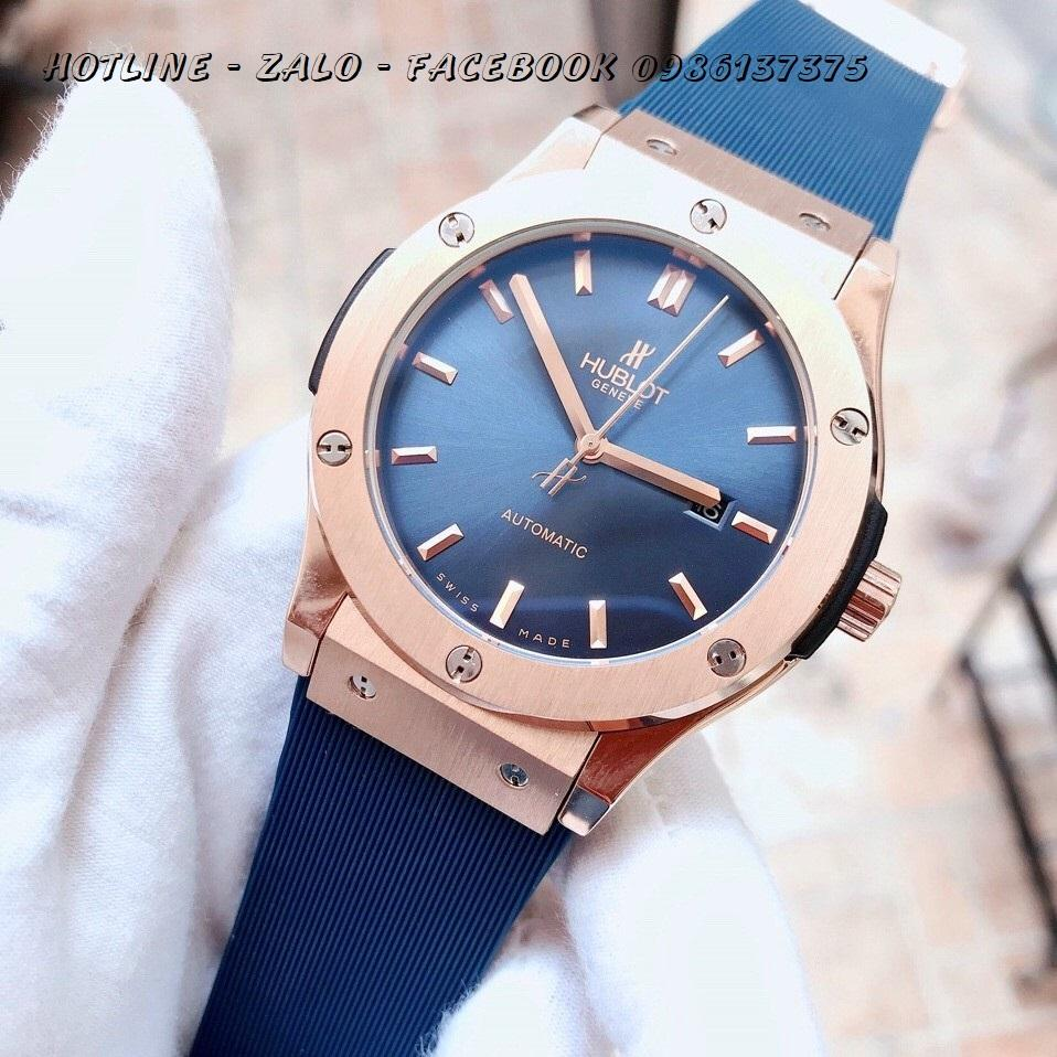 Đồng Hồ Hublot Nam Automatic Dây Silicon Xanh Rose Gold 42mm