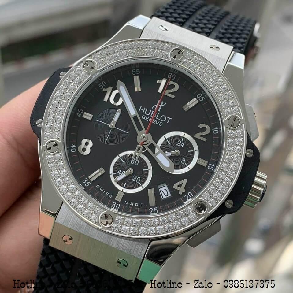 Đồng Hồ Nam Hublot Big Bang Diamonds Silicon Đen Silver 44mm