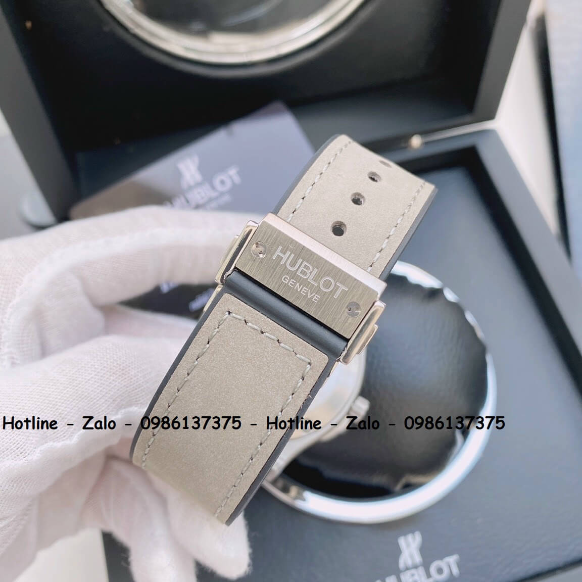 Đồng Hồ Hublot Automatic Nam Dây Da Silicon Xám 42mm