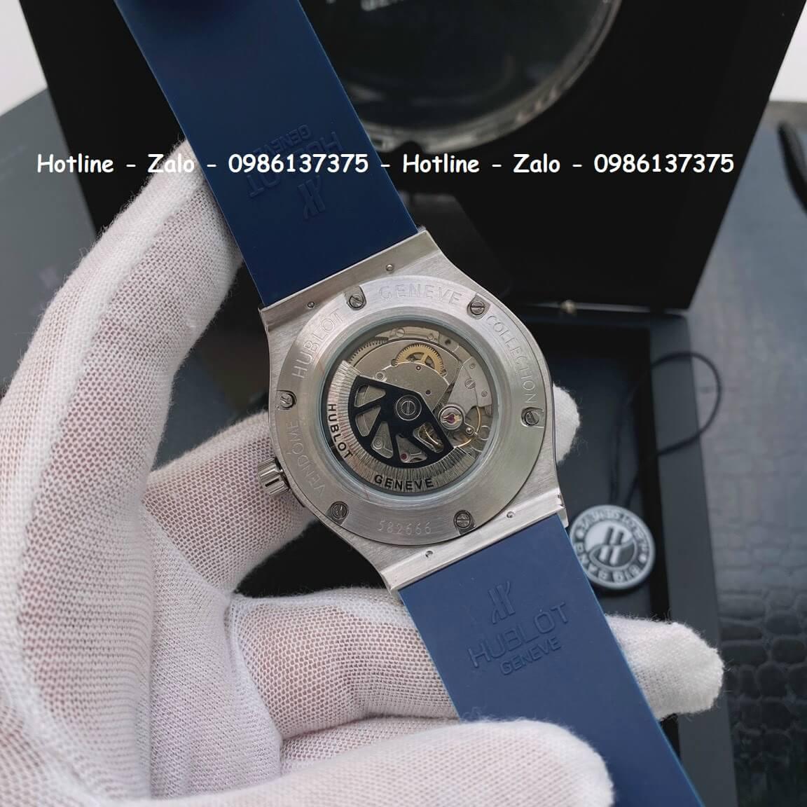 Đồng Hồ Cặp Hublot Siêu Cấp Dây Silicon Xanh 42mm - 34mm