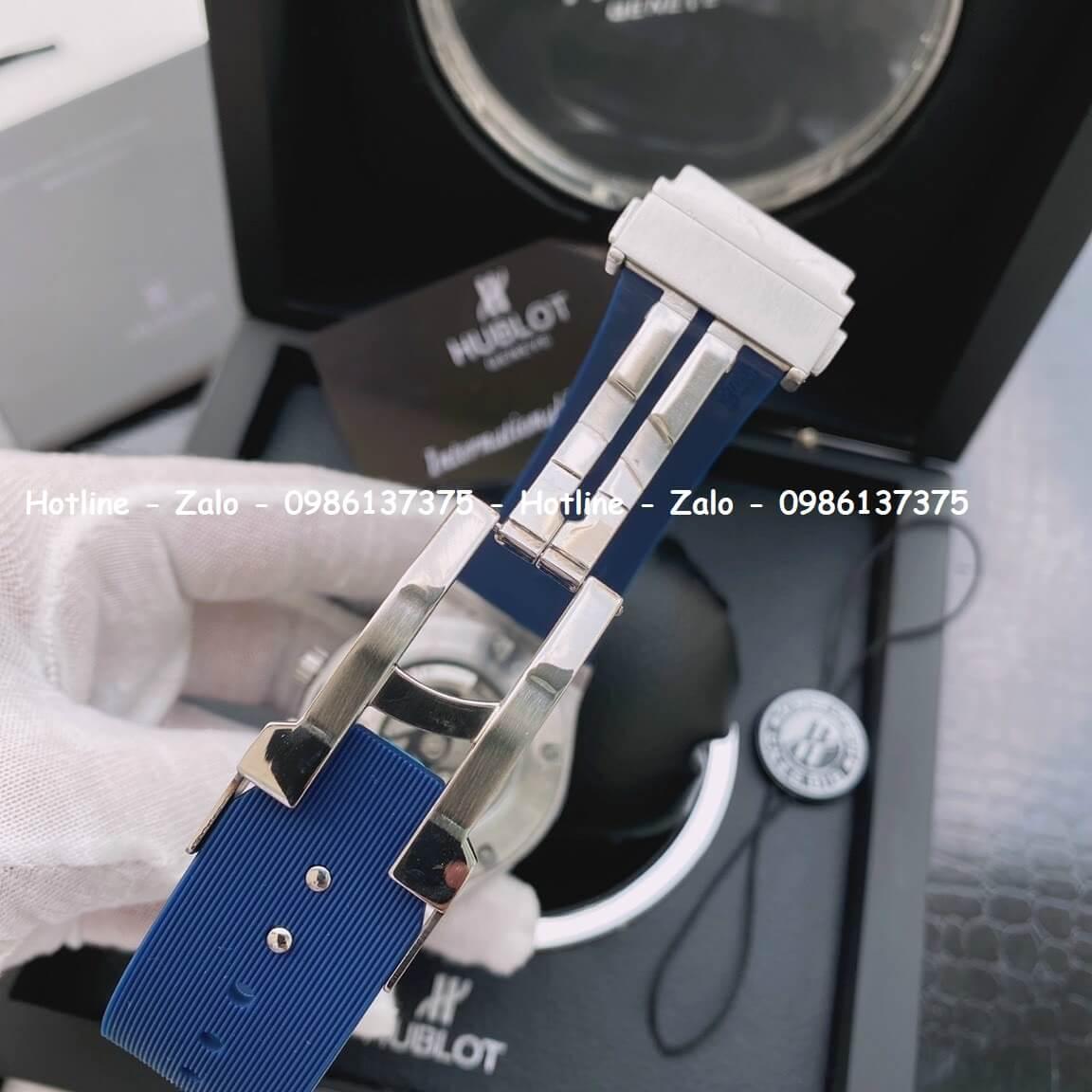 Đồng Hồ Hublot Nữ Siêu Cấp Dây Silicon Xanh 34mm Đính Đá