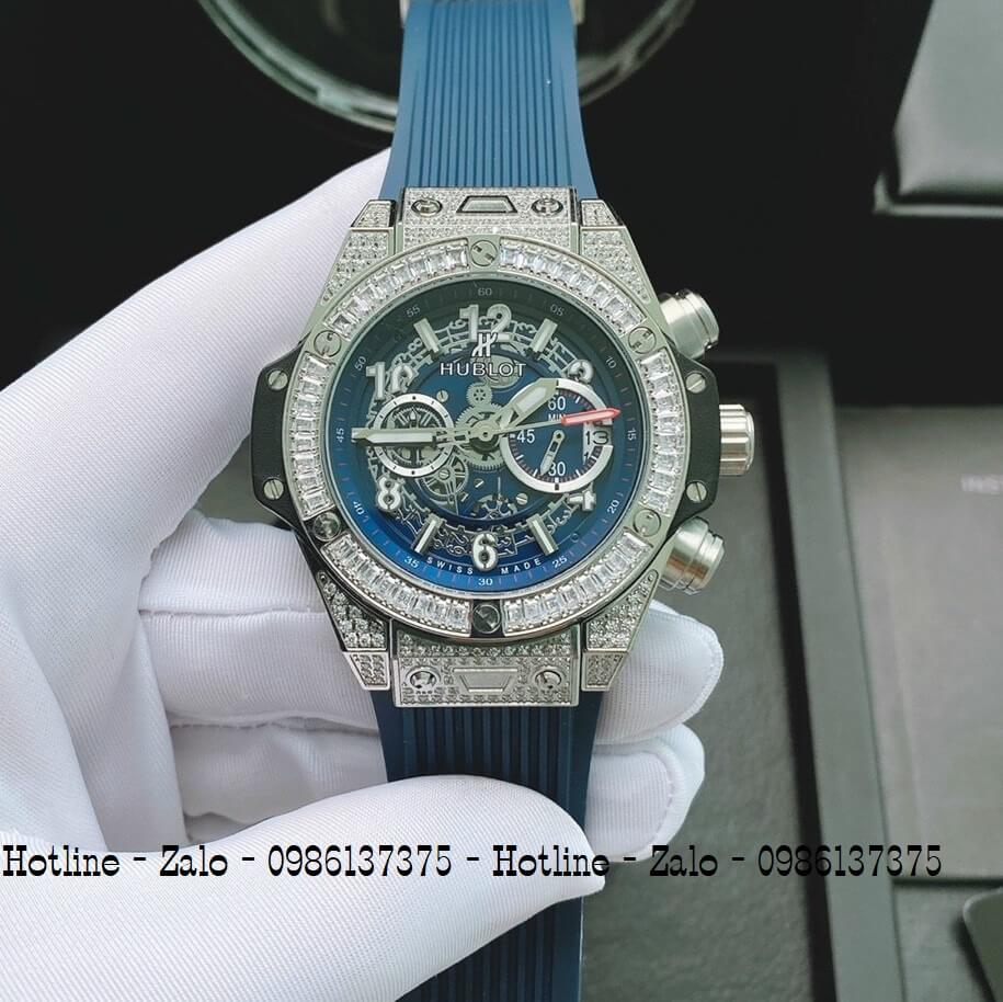 Đồng Hồ Nam Hublot Quartz Diamond Silicon Xanh 44mm