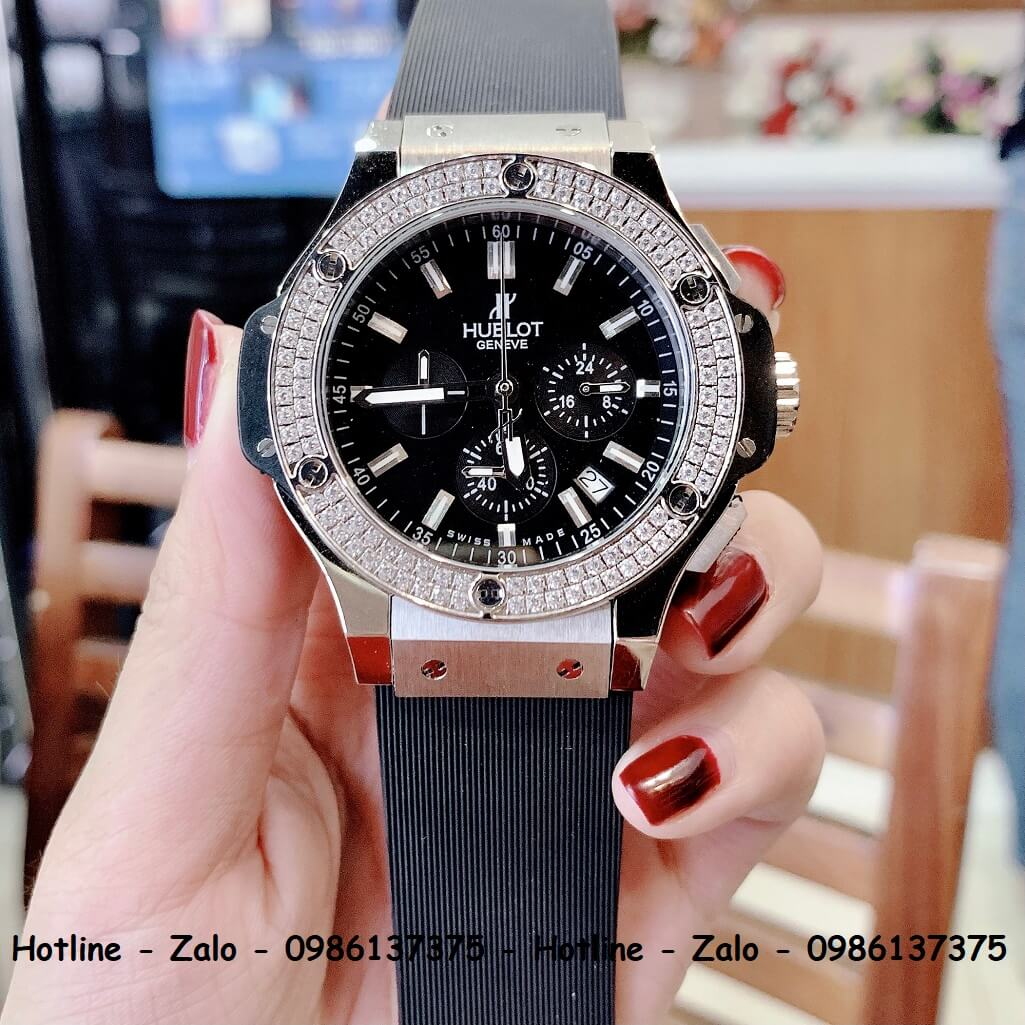 Đồng Hồ Hublot Big Bang Diamonds Nam Silicon Đen Silver 44mm