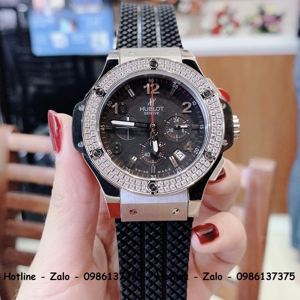 Đồng Hồ Hublot Big Bang Diamonds Silicon Đen Silver 44mm