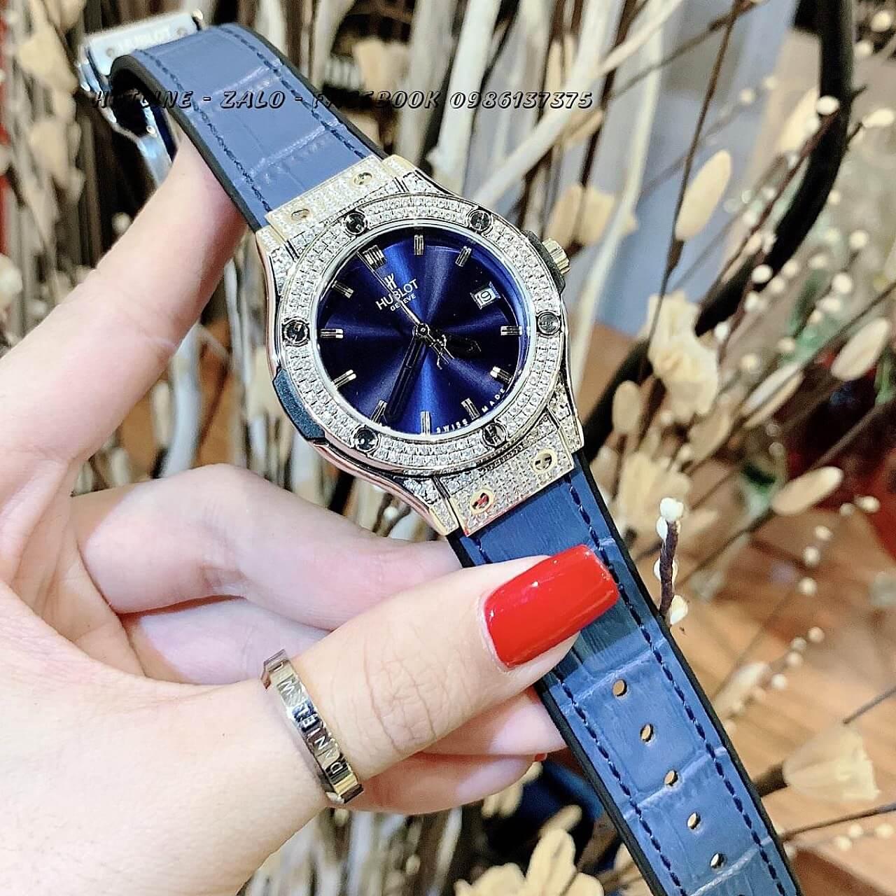 Đồng Hồ Hublot Nữ Da Silicon Blue Silver 34mm