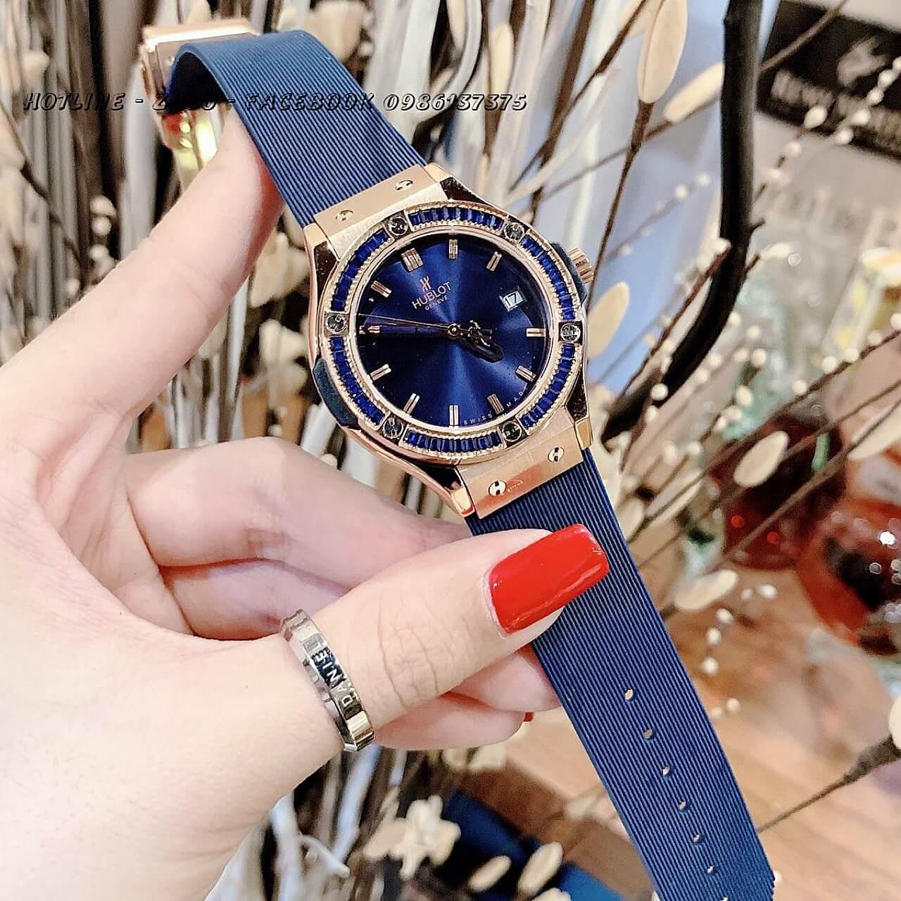 Đồng Hồ Hublot Nữ Silicon Blue Rose Gold 34mm Đá Xanh