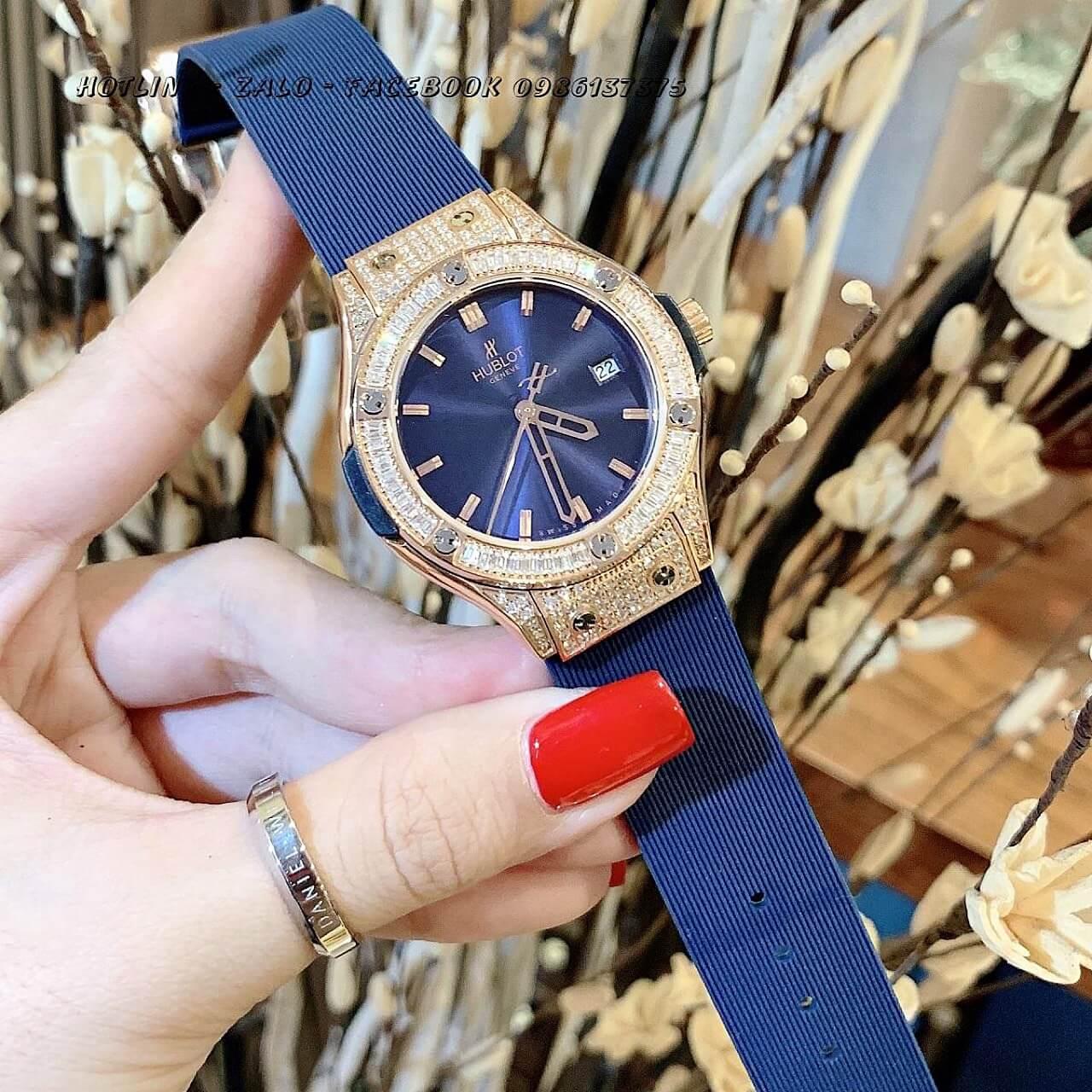 Đồng Hồ Hublot Nữ Silicon Blue Rose Gold 34mm