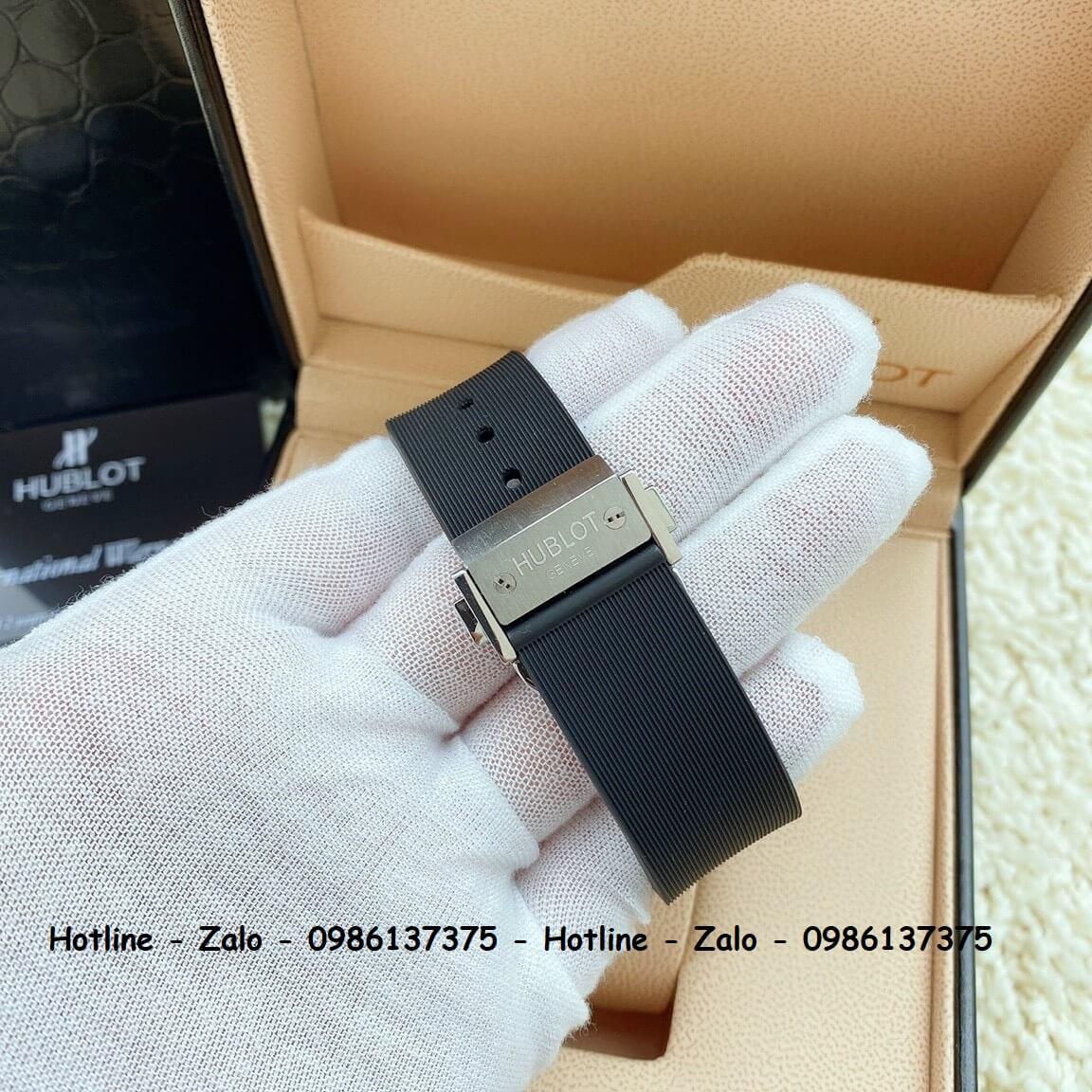 Đồng Hồ Nữ Hublot 5 Kim Dây Silicon Đen Đính Đá Silver 38mm