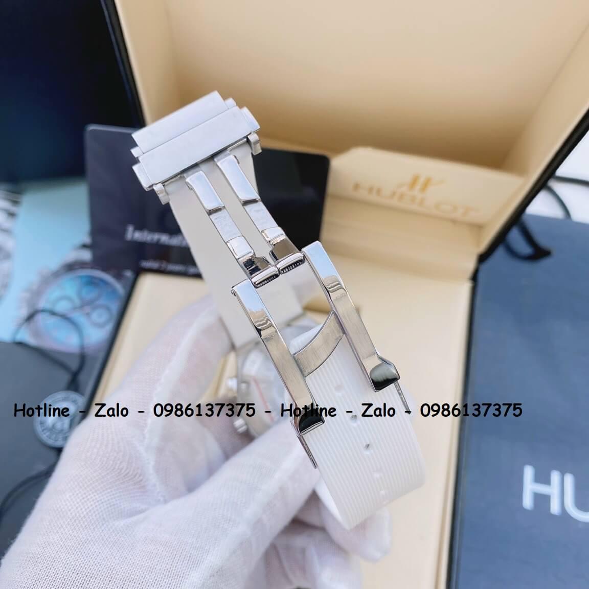 Đồng Hồ Nữ Hublot 5 Kim Dây Silicon Trắng Đính Đá 38mm